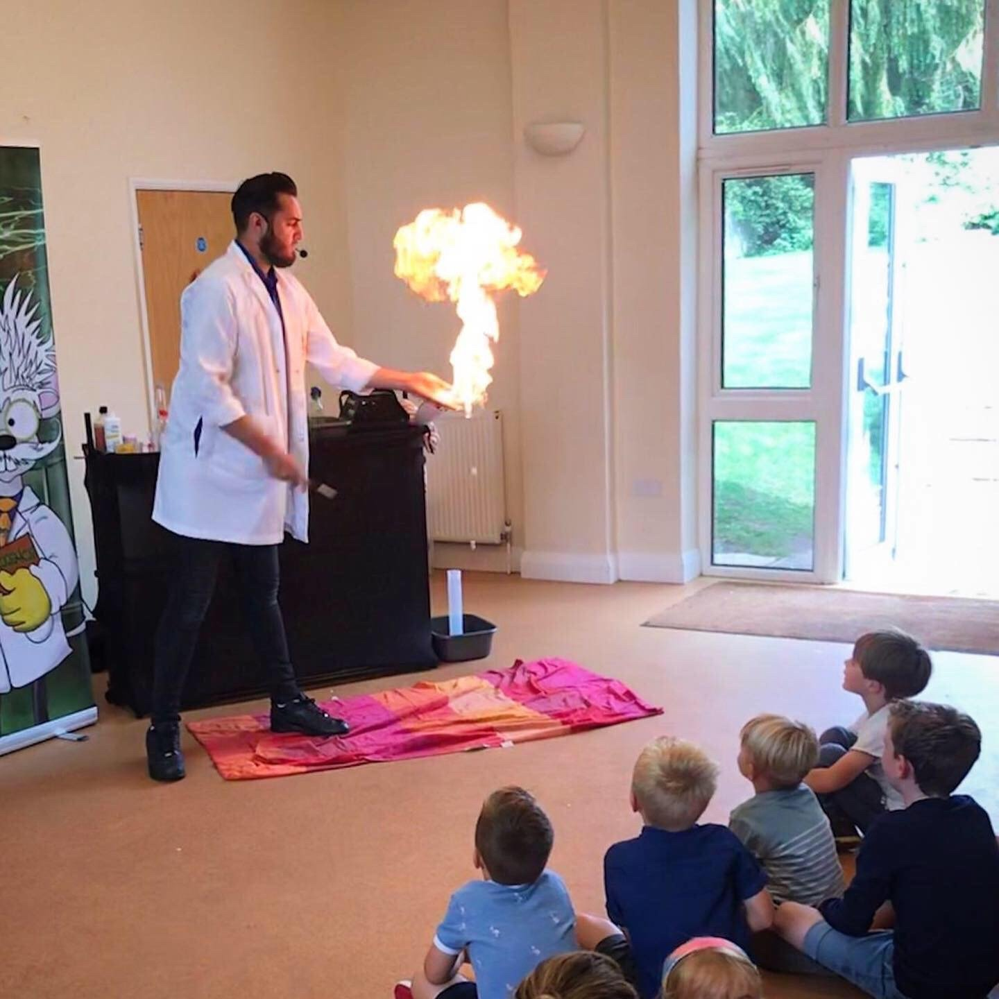 professor sparky performing science explosion
