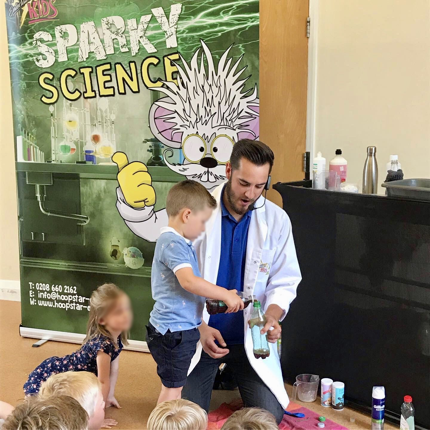 professor sparky performing science experiment